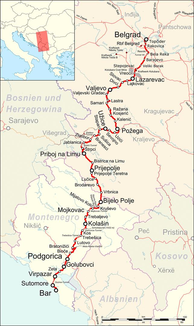 Bahnstrecke Belgrad-Bar Streckenverlauf